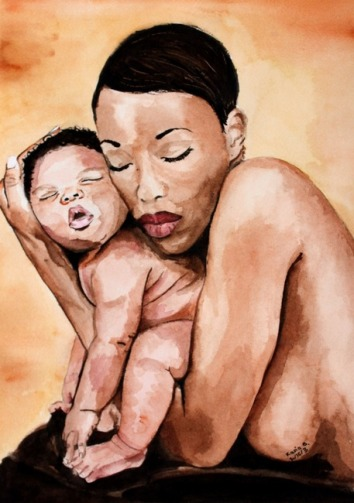 Kasia Blanchard Watercolor painting of a mother holding a baby Inspired by Anne Gedes photograph